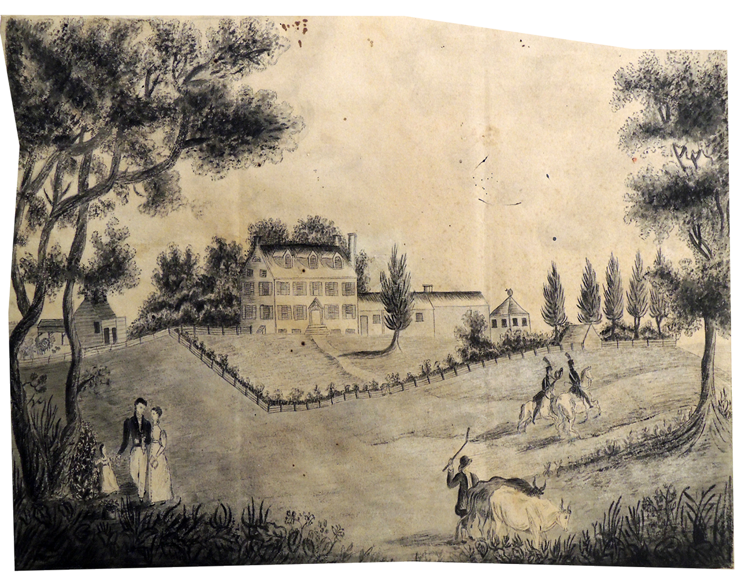1797 watercolor rendering of Prospect Farm, which later became part of Princeton's campus.