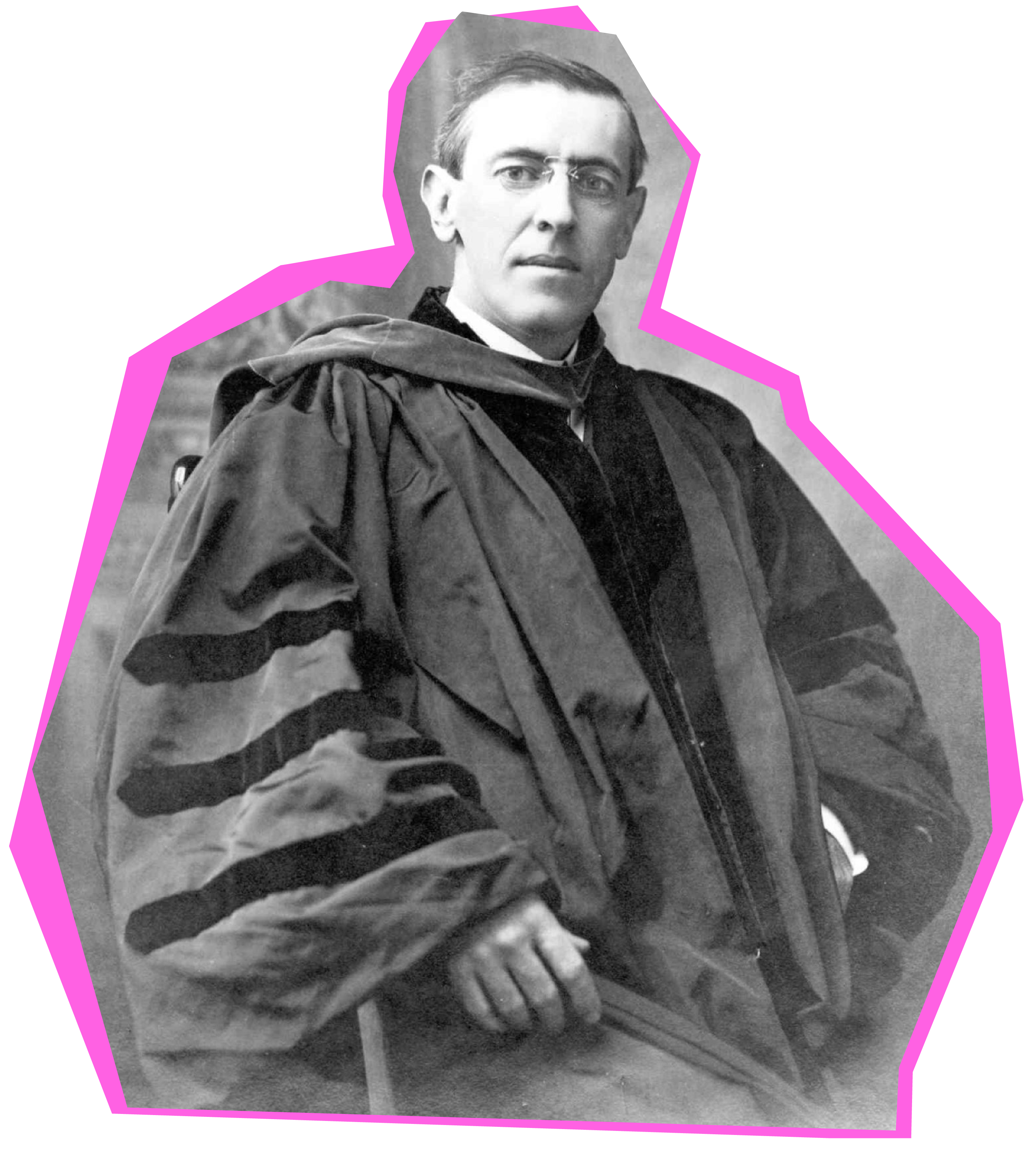 Woodrow Wilson, 13th president of Princeton, in academic robes.