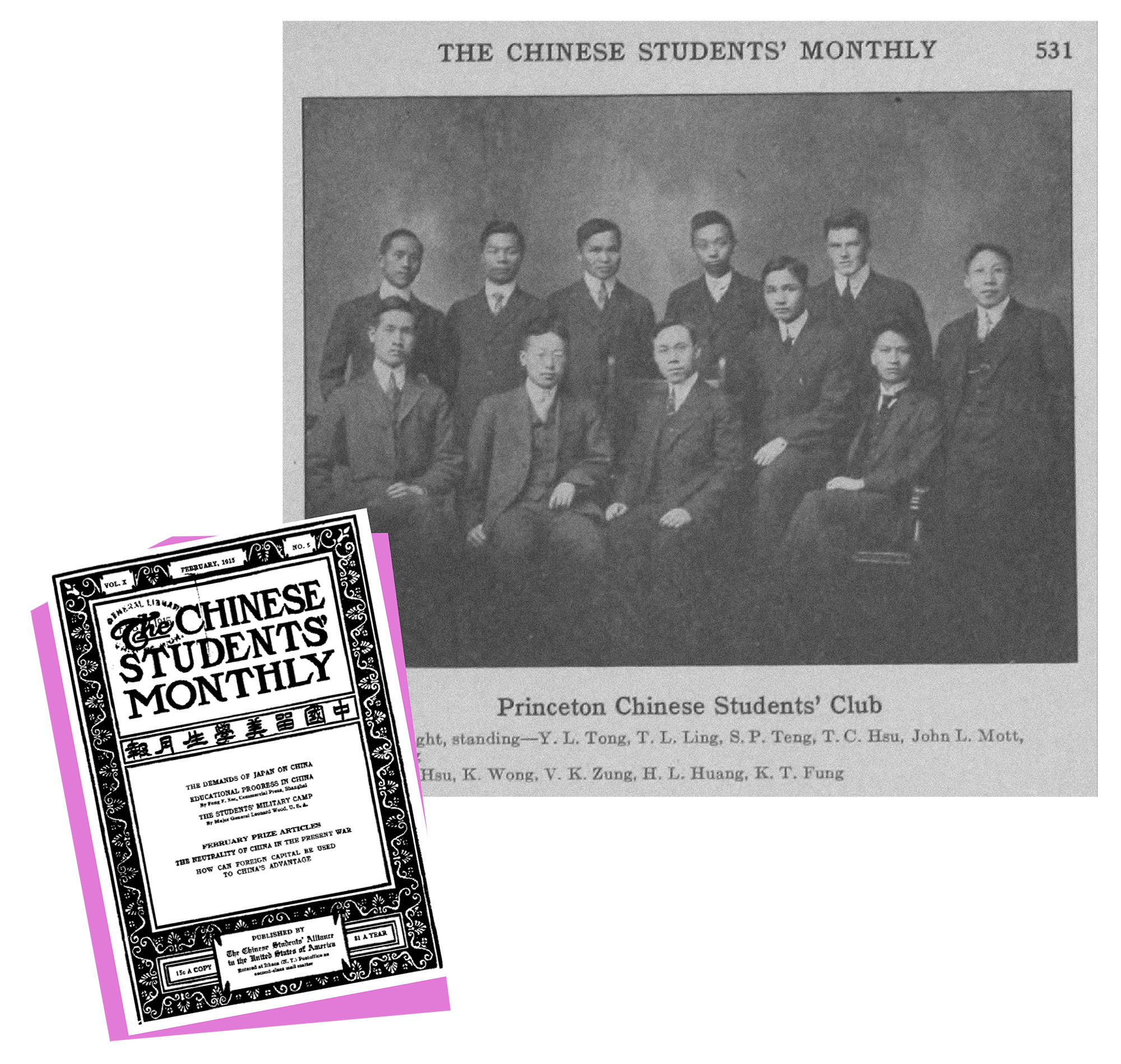 1915 issue of the Chinese Students' Monthly newspaper. Six members of the Princeton Chinese Students' Club in 1915.
