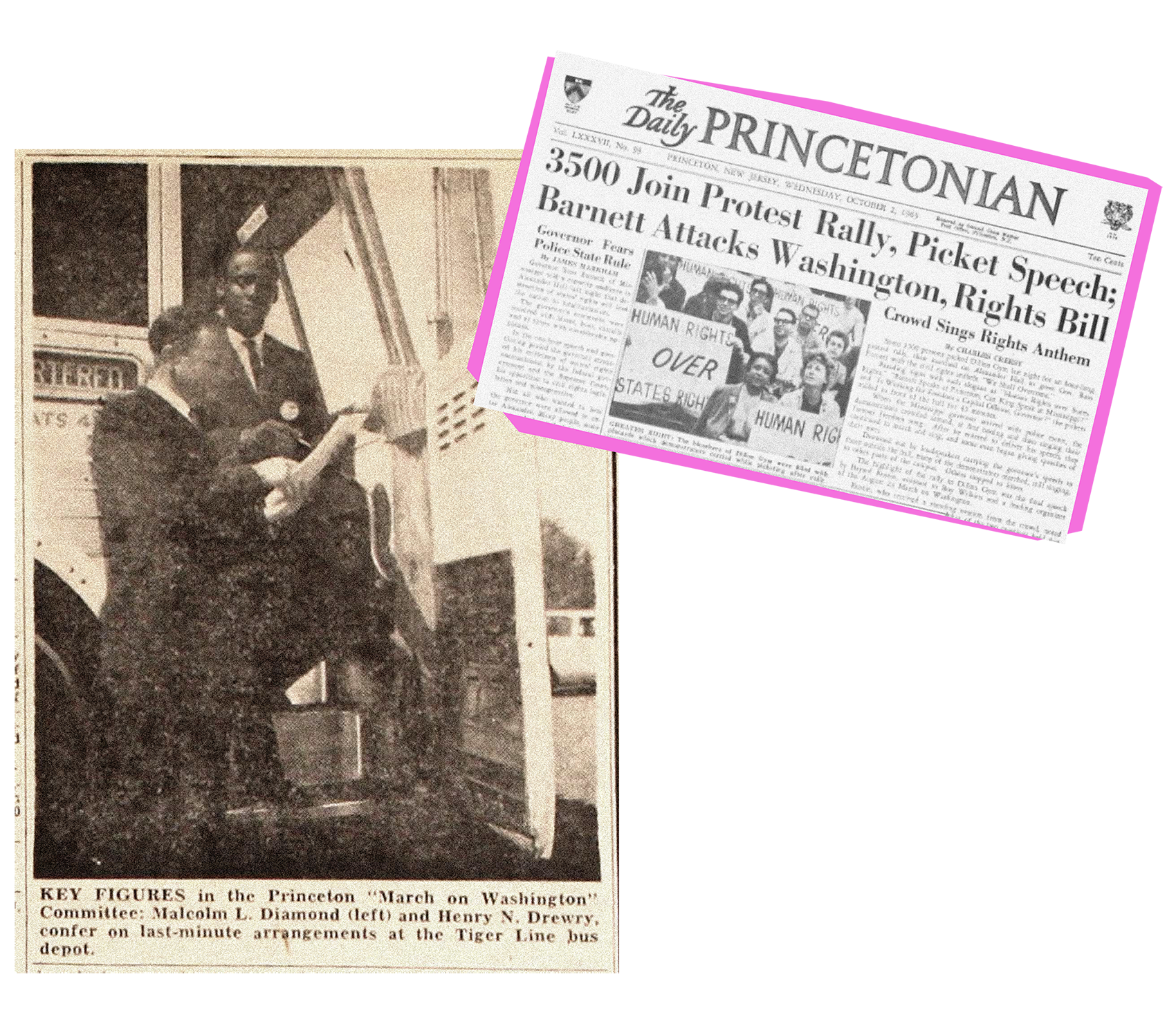 """Princeton administrators Malcolm Diamond and Henry Drewry examining papers next to a bus before the March on Washington in 1963. 1963 issue of The Daily Princetonian showing students holding """"Human rights over states rights"""" signs to protest Ross Barnett."""
