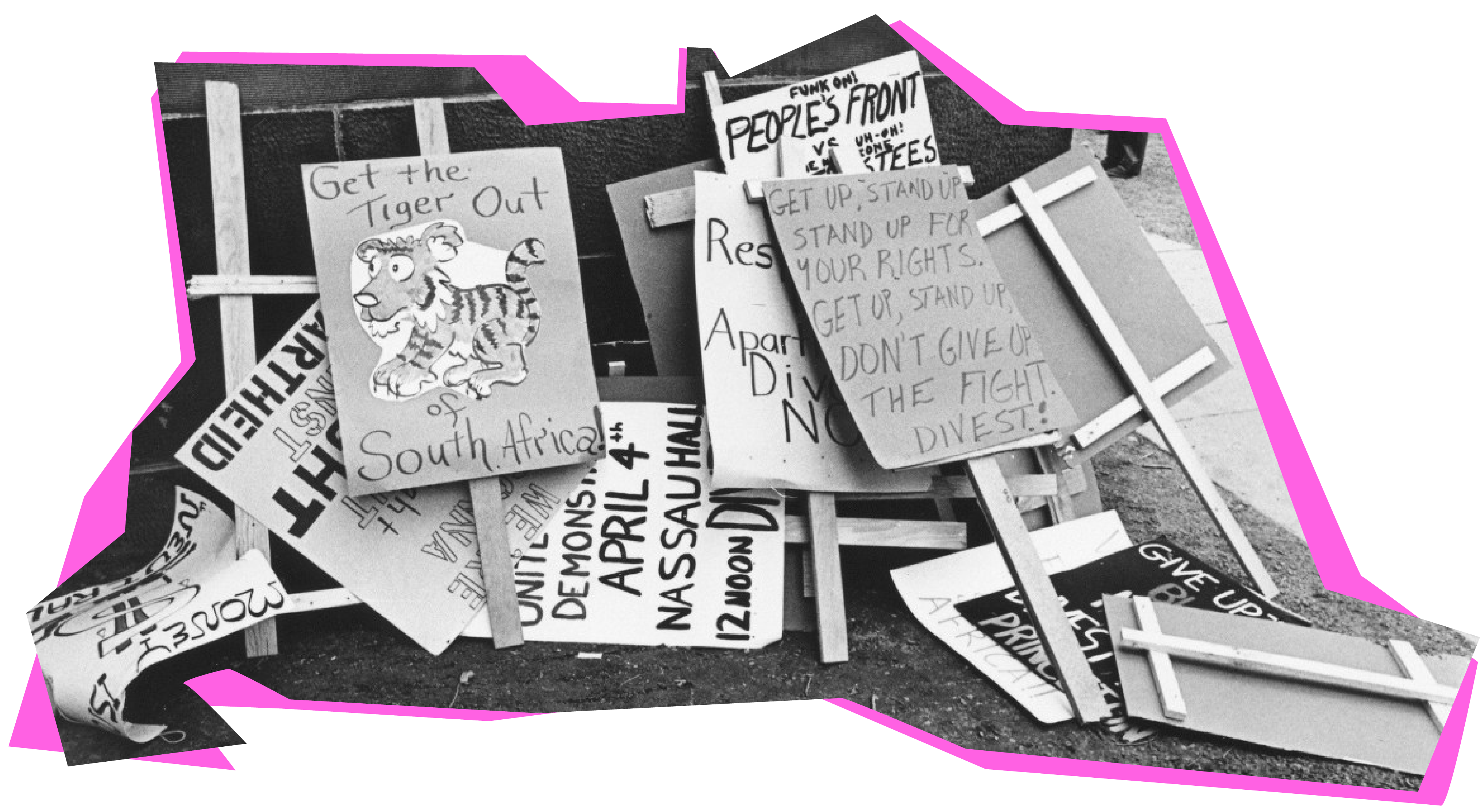 """Pile of 1978 protest signs against investments in South Africa, with phrases like """"Get the tiger out of South Africa."""""""