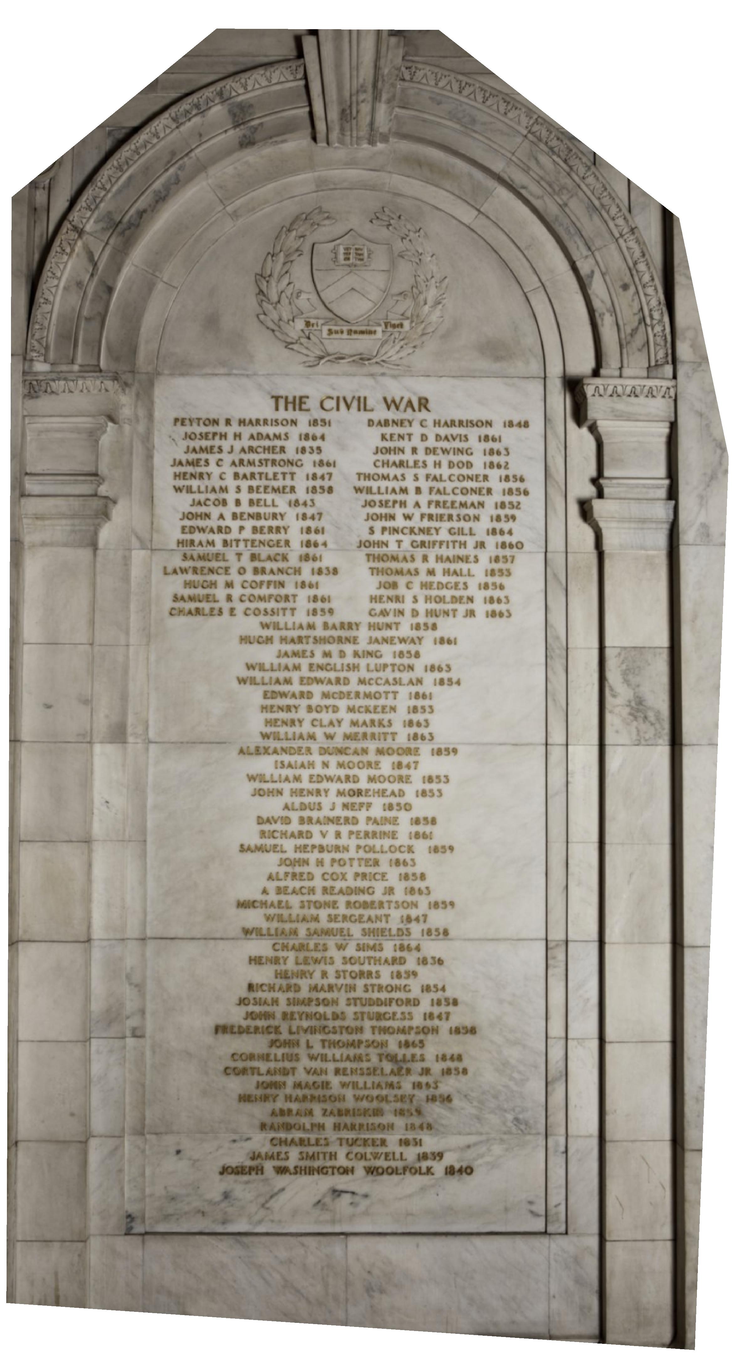 Princeton's Civil War Memorial in Nassau Hall.
