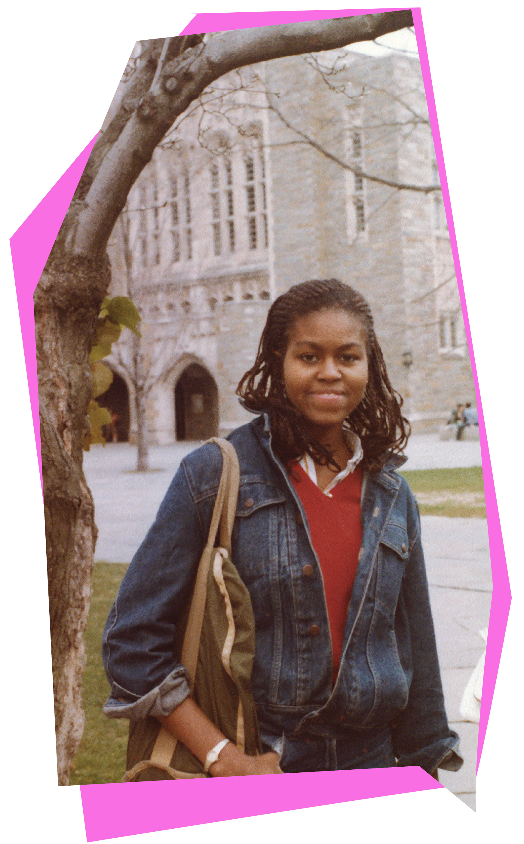 Michelle Obama '85 standing in front of Firestone Library as an undergraduate.