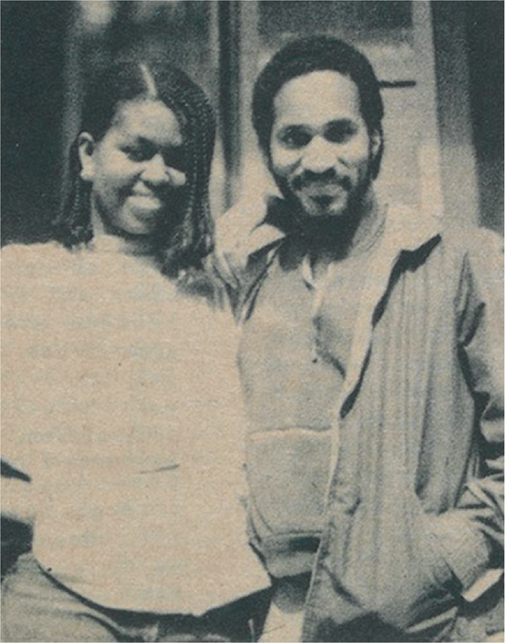 Michelle Obama '85 posing with another student in 1984.