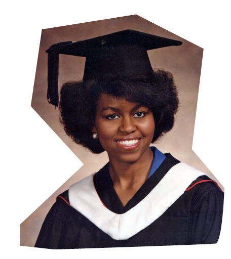 Michelle Obama '85 in her graduation cap and gown in 1985.