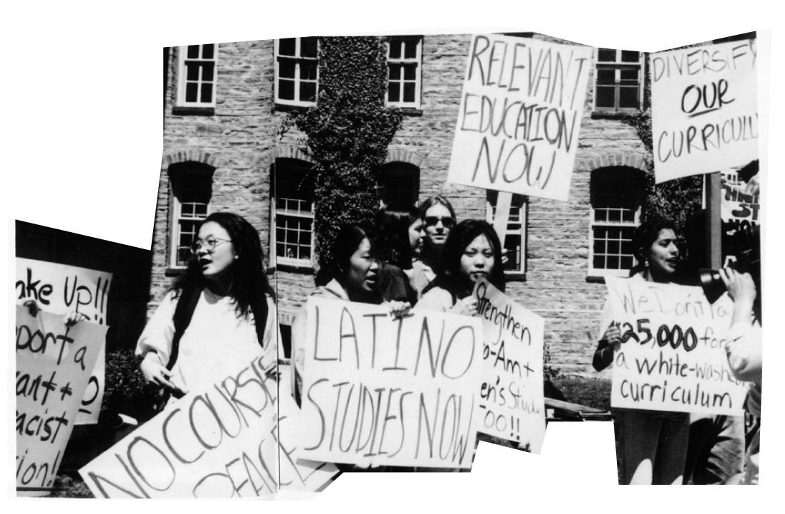 """Students holding signs such as """"Diversify Our Curriculum"""" and """"Latino Studies Now"""" in a 1995 protest for ethnic studies."""