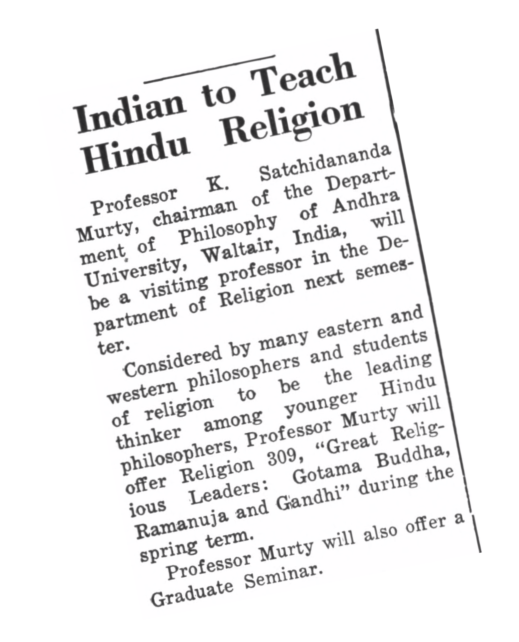 1958 announcement in The Daily Princetonian about new courses on Hinduism.