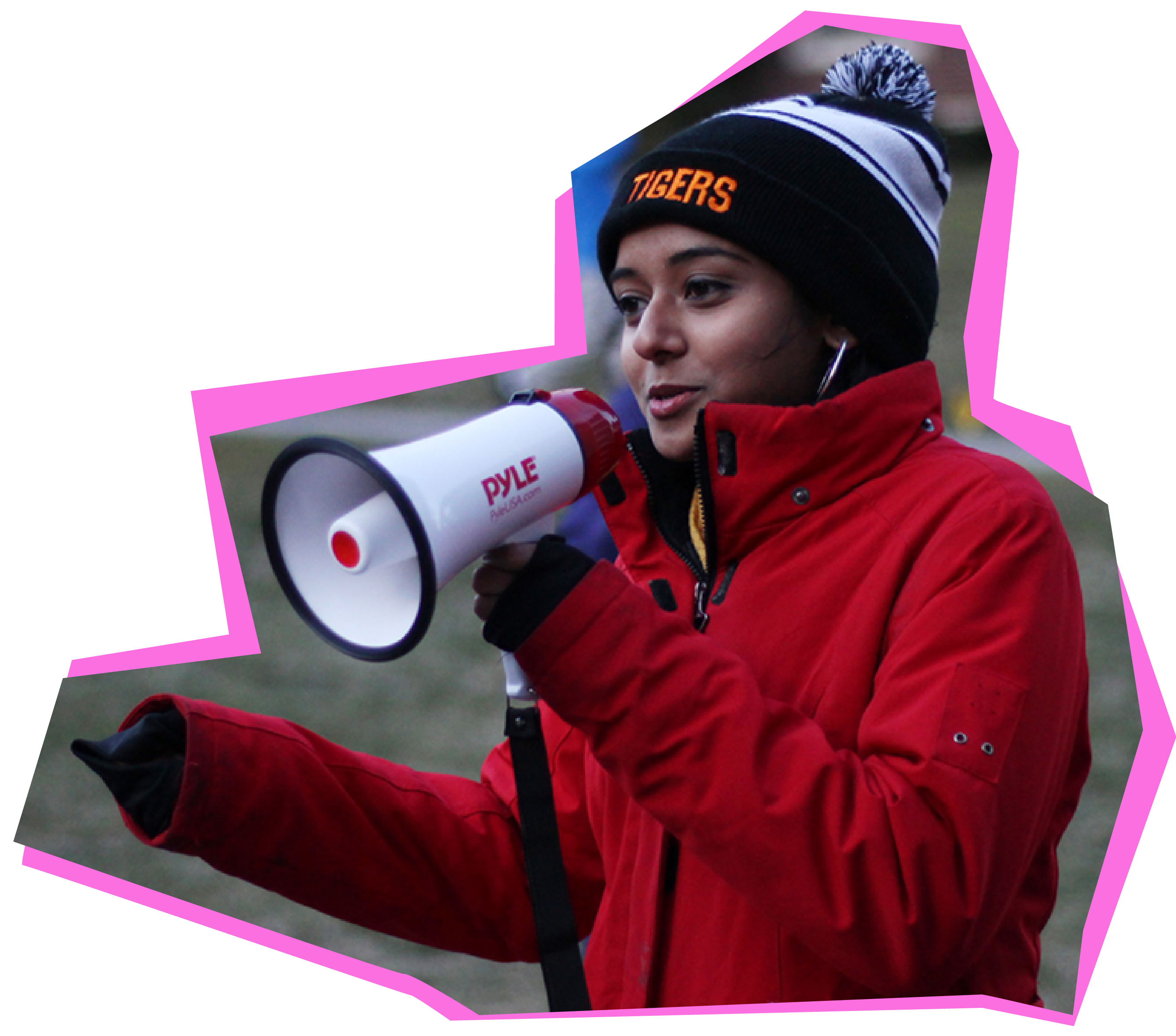 Student speaks into a megaphone during a Pace Center event.