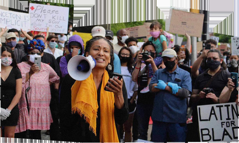 Professor Ruha Benjamin speaking at the Princeton Black Lives Matter protest on June 2, 2020.