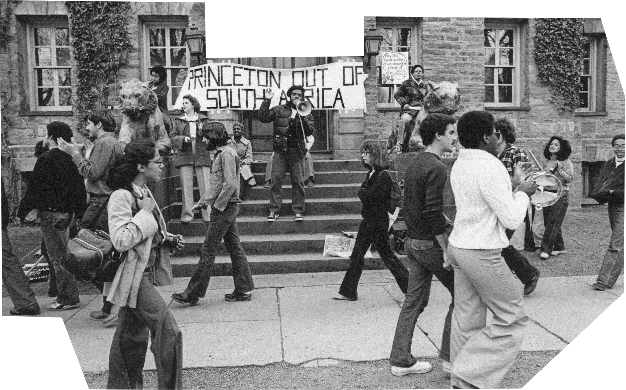 """Group of students protesting in front of Nassau Hall in 1978, with a banner saying, """"Princeton Out of South Africa."""""""