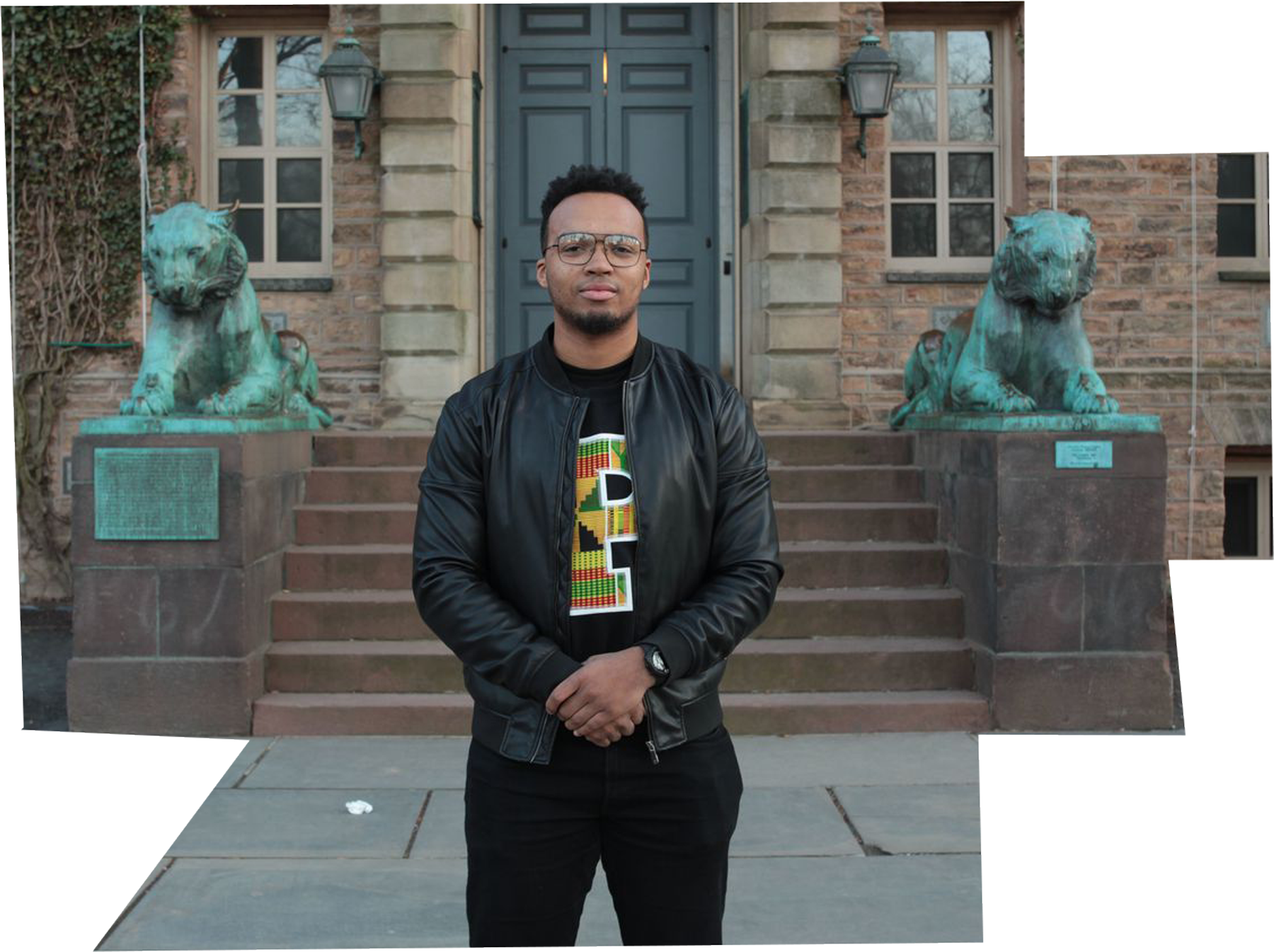 Nicholas Johnson '20, valedictorian of the Class of 2020, standing in front of Nassau Hall.