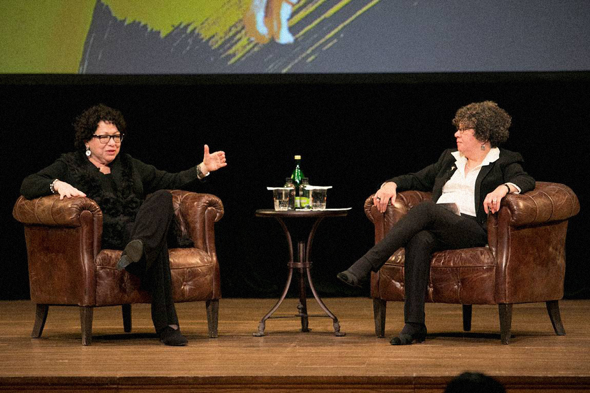 Sonia Sotomayor '76 and Margarita Rosa '74 sitting across from each other on stage during a conference for Latino alumni in 2017.