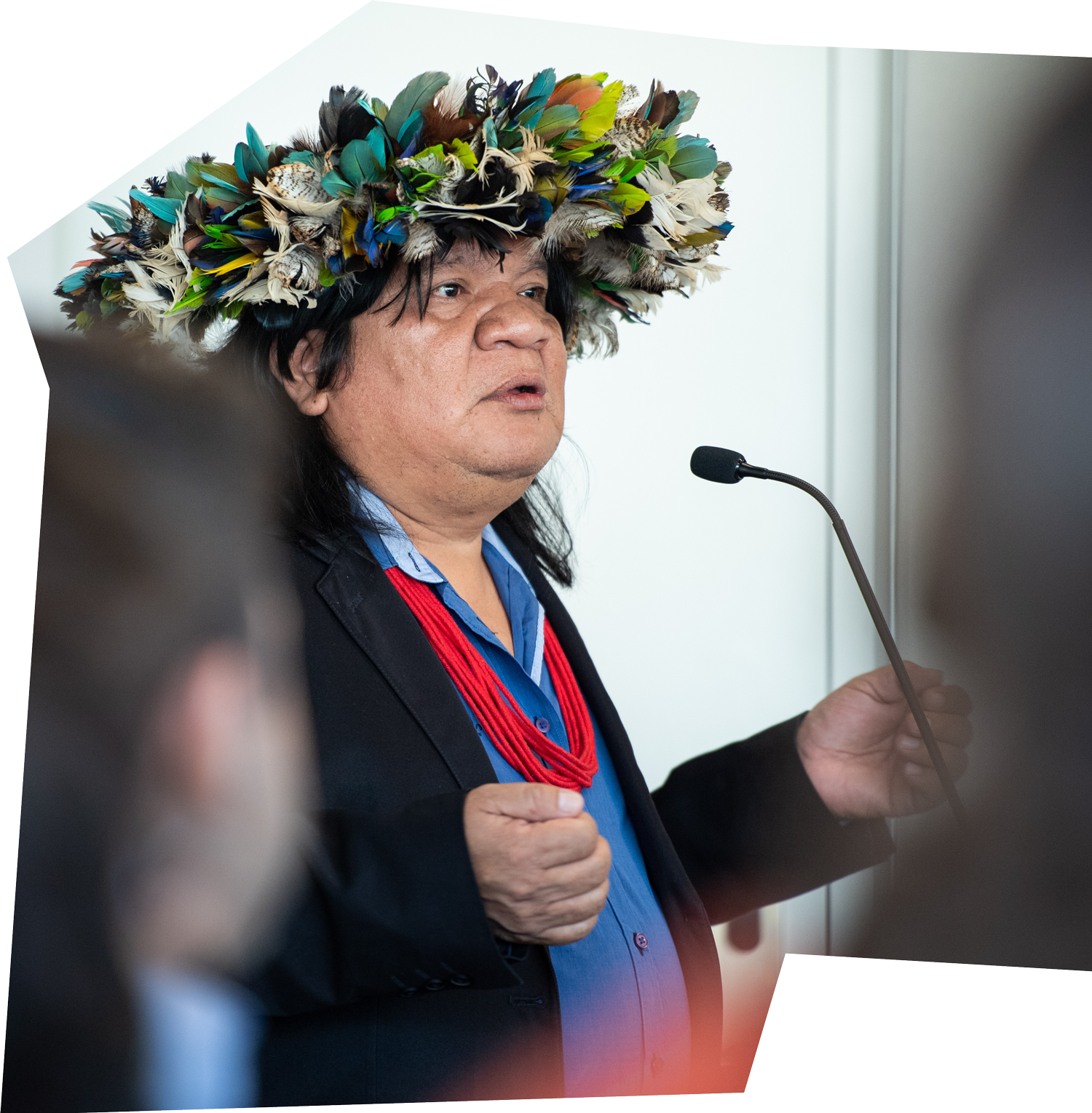 Amazonian tribal chief Almir Narayamoga Suruí speaking during a conference on Indigenous communities and the environment in 2019.