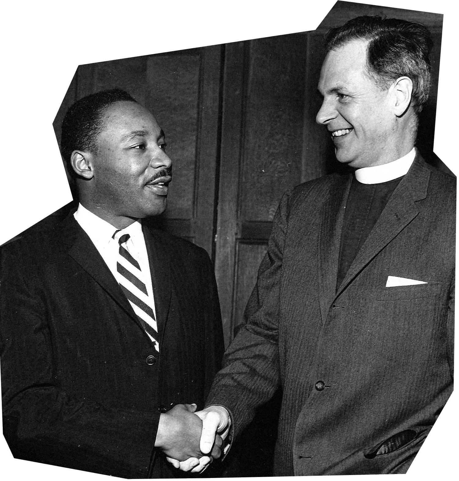 Martin Luther King, Jr. speaking with Dean of the Chapel Ernest Gordon in 1960.