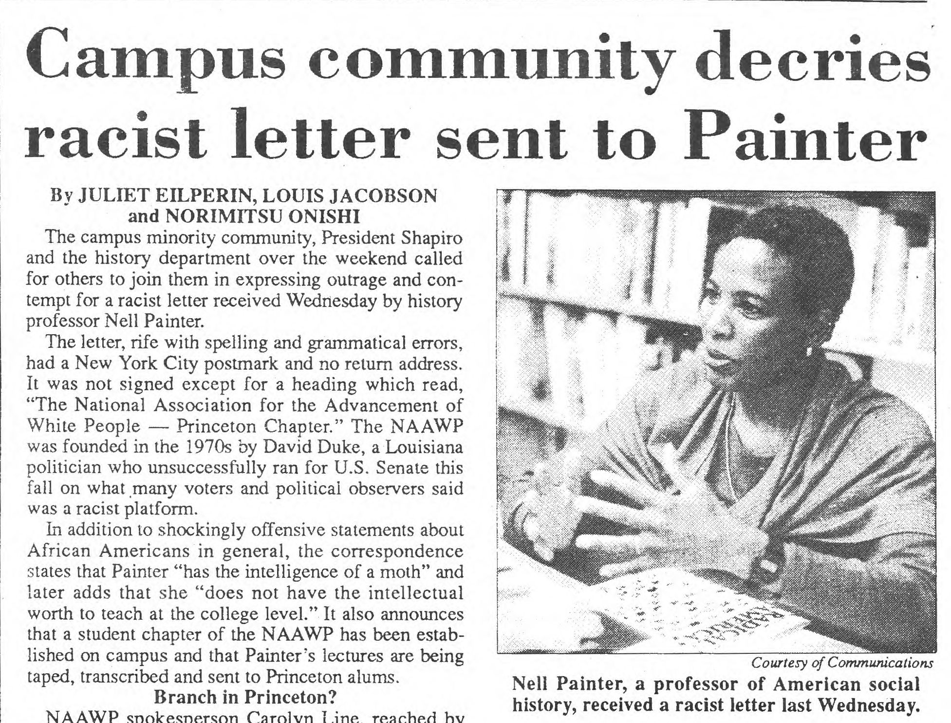 1990 issue of The Daily Princetonian defends Professor Nell Painter.