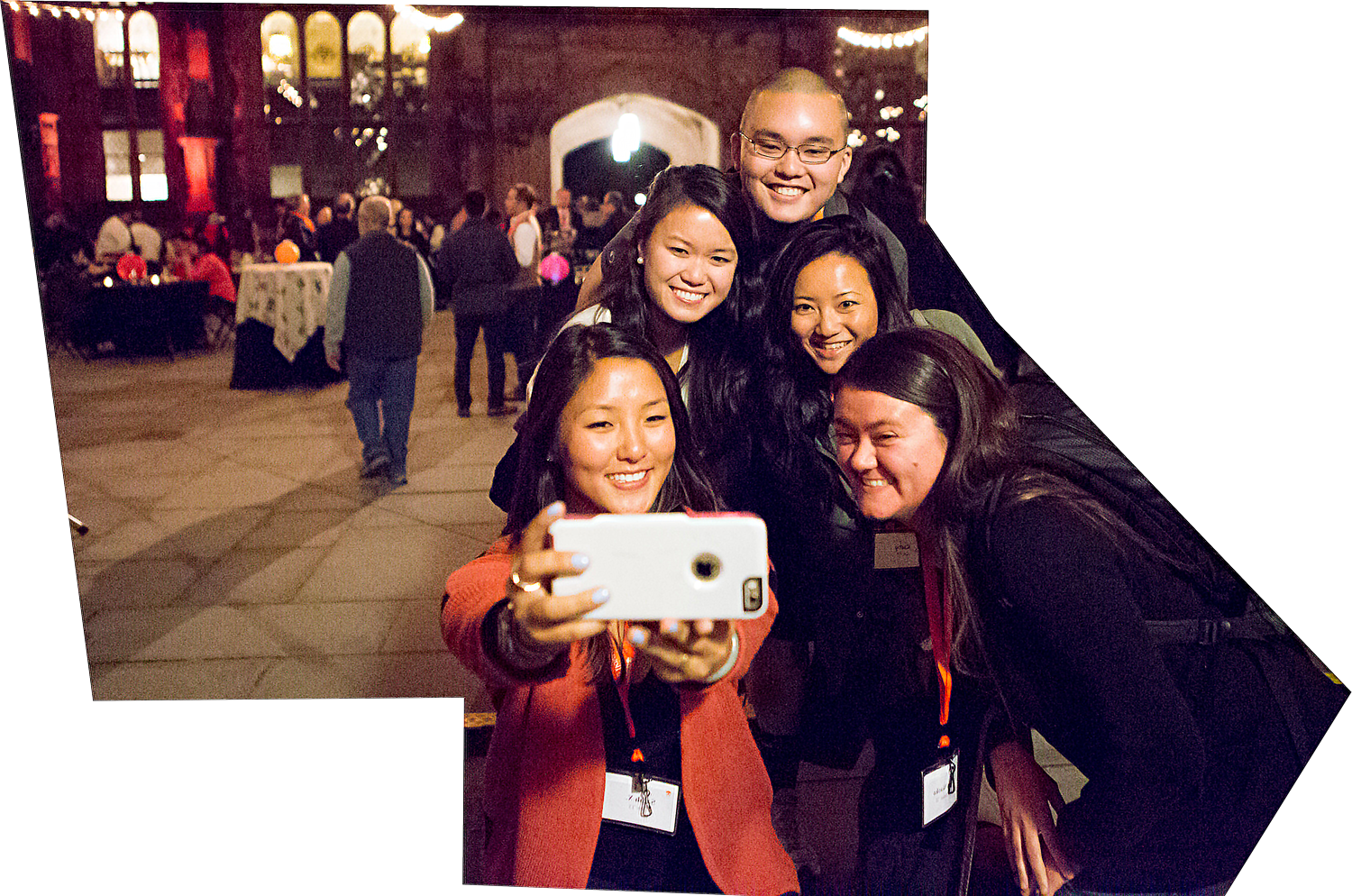 Princetonians taking a selfie together in East Pyne Courtyard during a conference for Asian alumni in 2015.