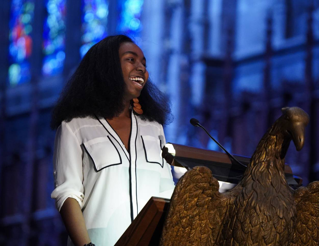 Kiki Gilbert '21 giving an address in the University Chapel during a conference for first-generation and lower-income students.