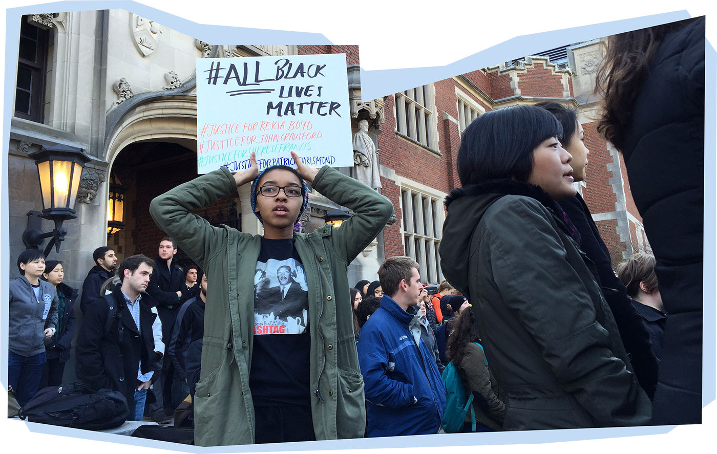 Student activists participate in December 4, 2014 walk-out and die-in.