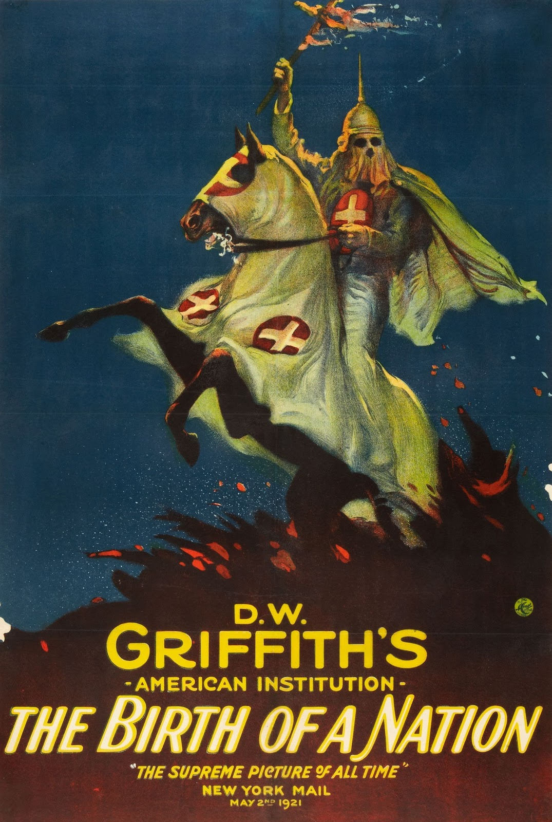 Ku Klux Klan member on horseback featured on a poster for the film The Birth of a Nation.