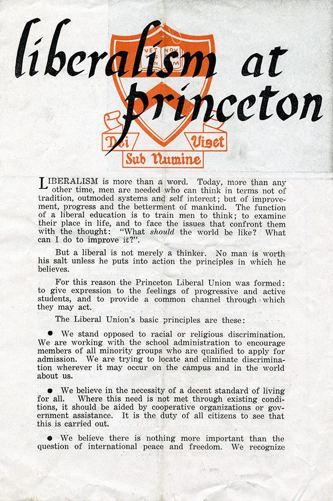 A 1947 document describing liberalism at Princeton.