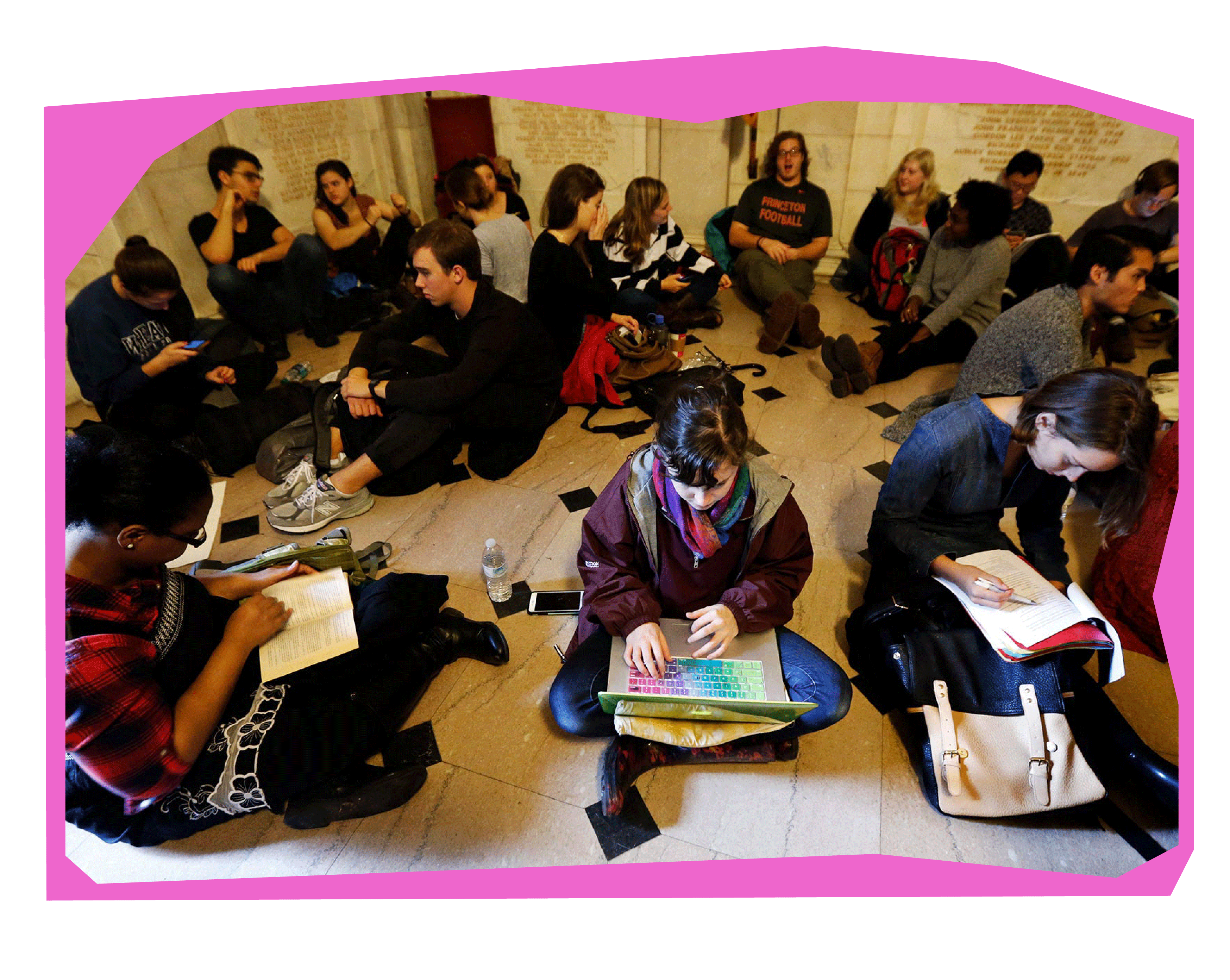A group of students talking and working on the floors of Nassau Hall during the 2015 sit-in.