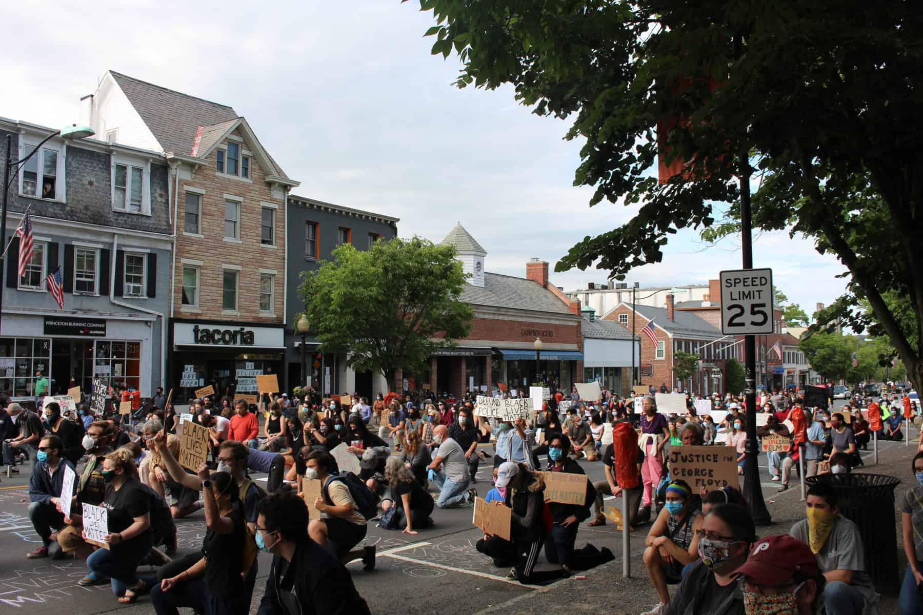 Hundreds of Princeton students and community members kneeling on Nassau Street during a protest against racial injustice in 2020.