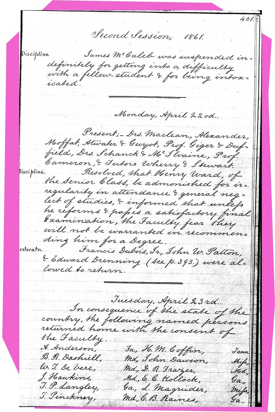 List of southern students excused from classes at Princeton because of the Civil War.