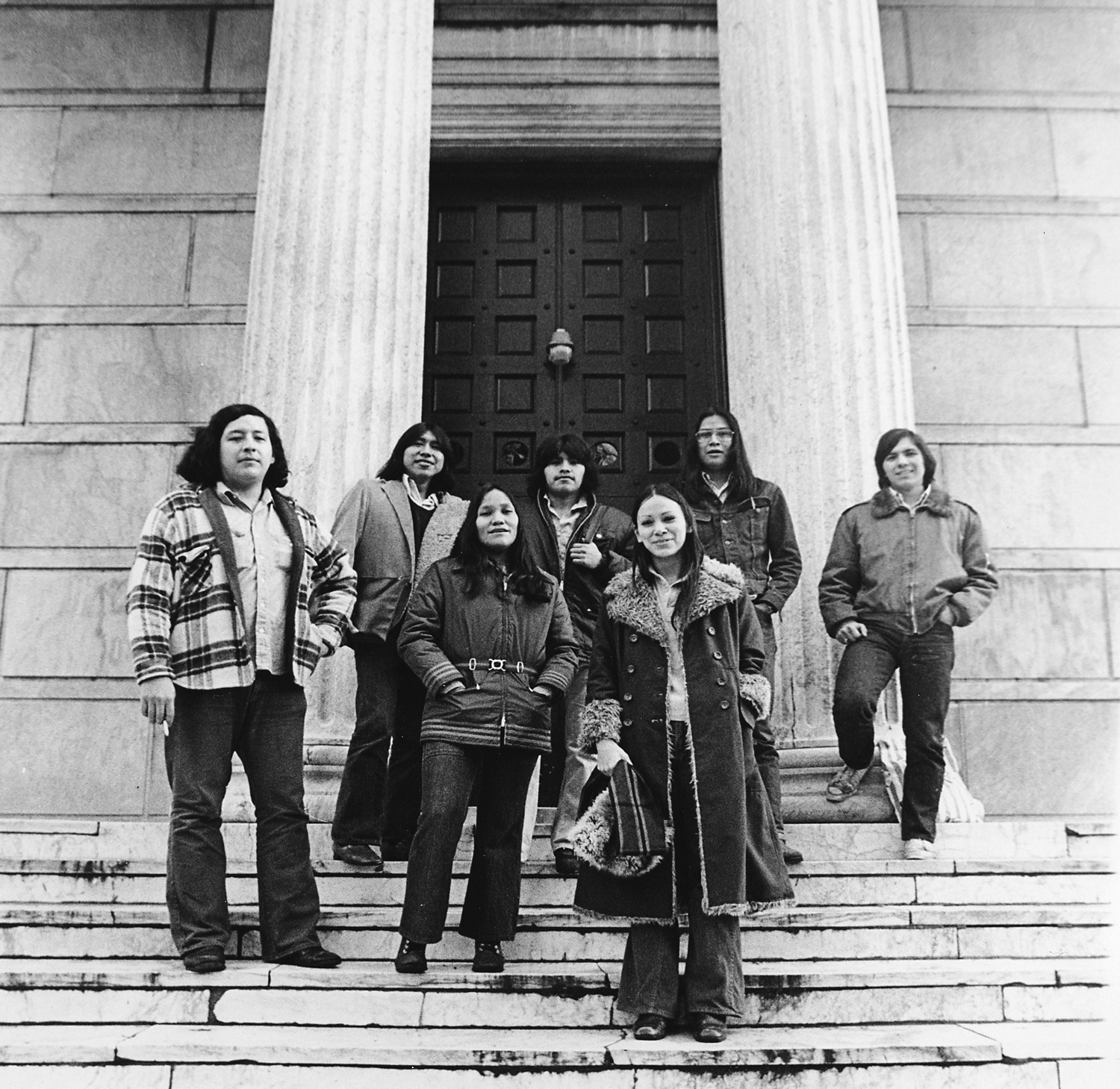 Native students at Princeton posing together in the 1970s.