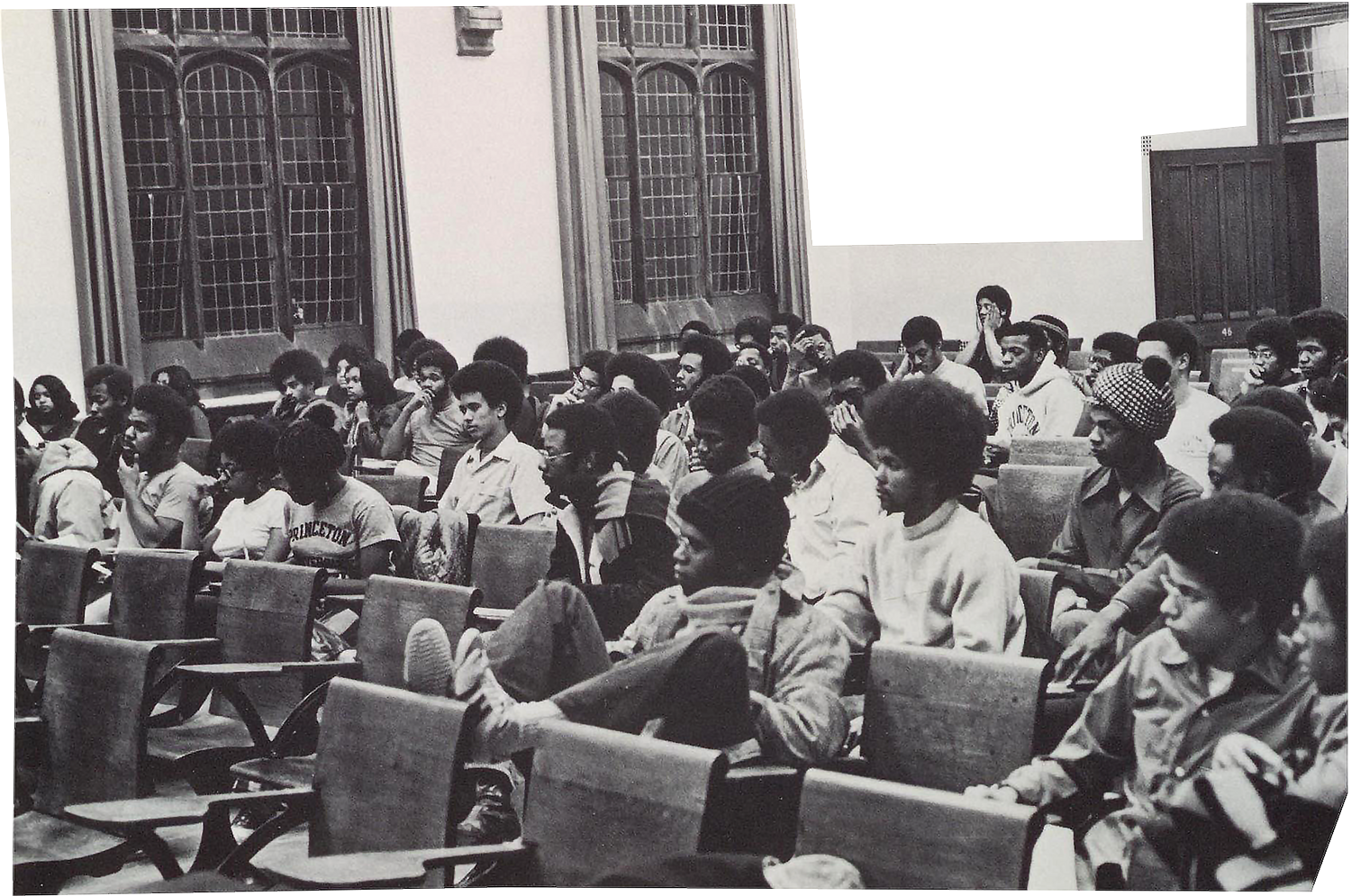 Members of the Association of Black Collegians sitting in a classroom in 1971.