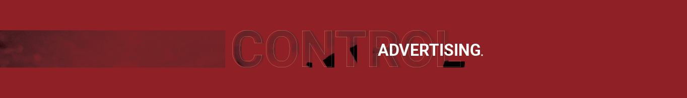 control advertising logo banner, displaying the brands red color and fonts