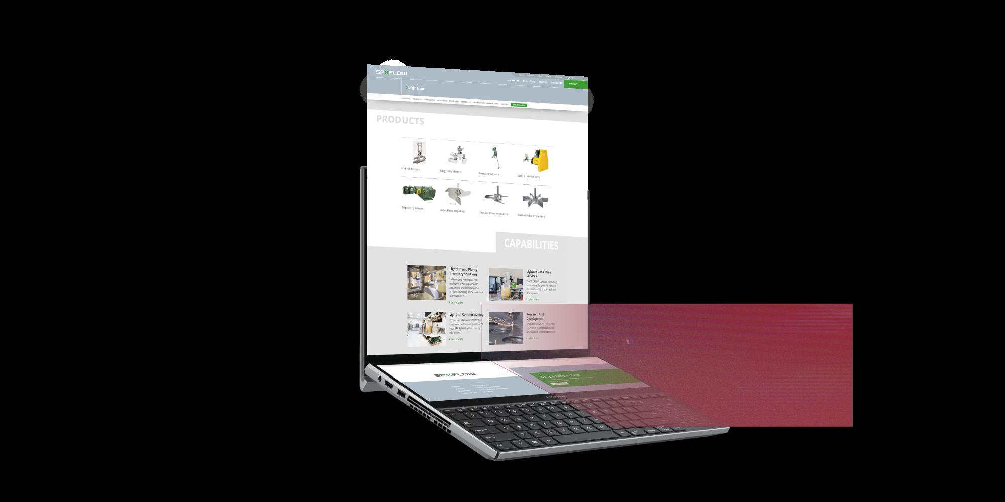 spxflow website redesign displayed on a computer mockup