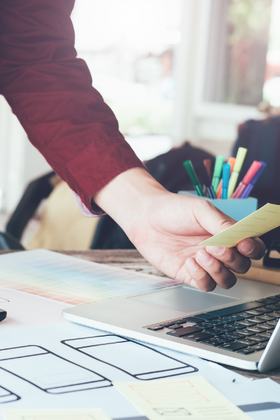 control advertising designer conducting a corporate website redesign