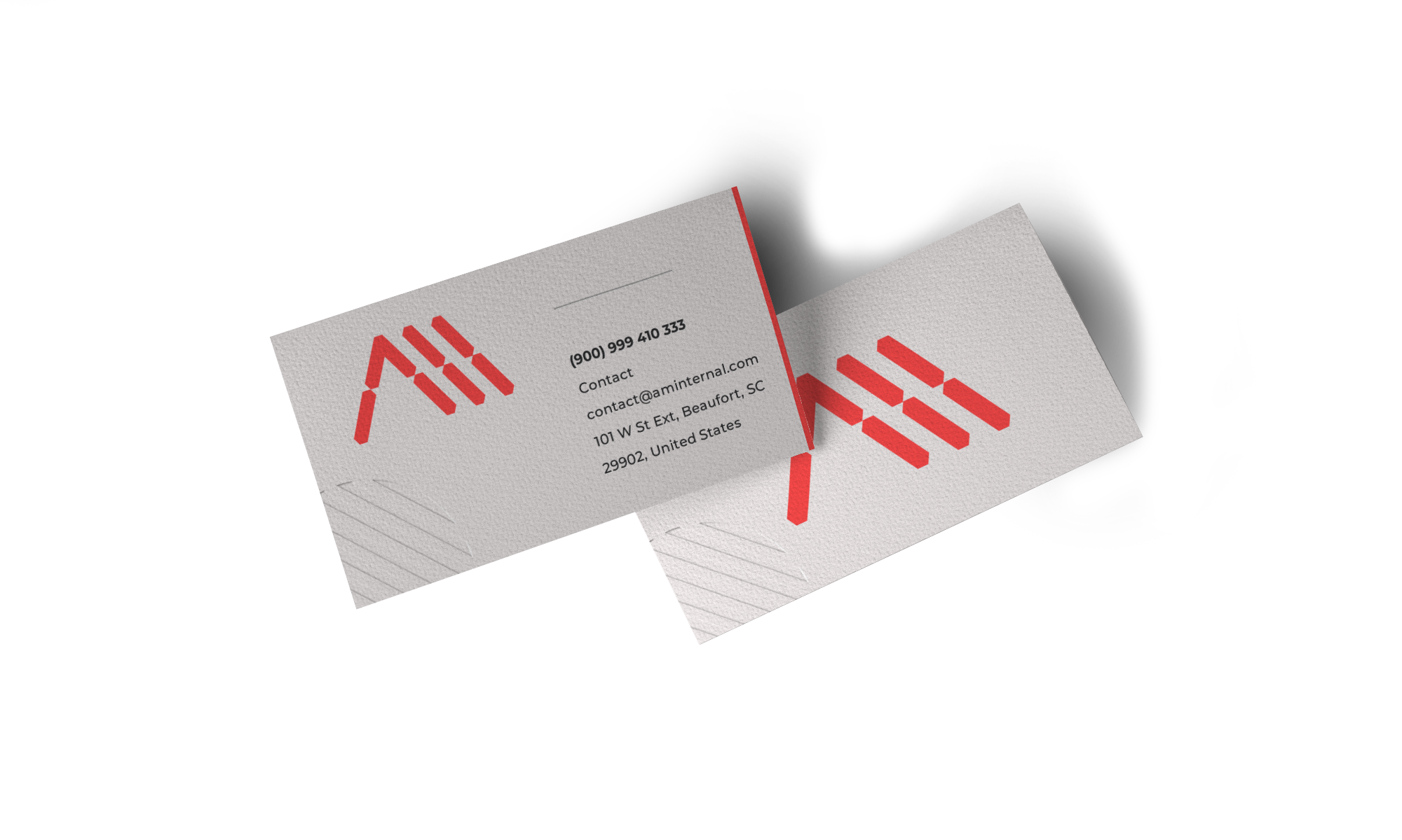 2 business cards displaying a creative logo designed by control advertising