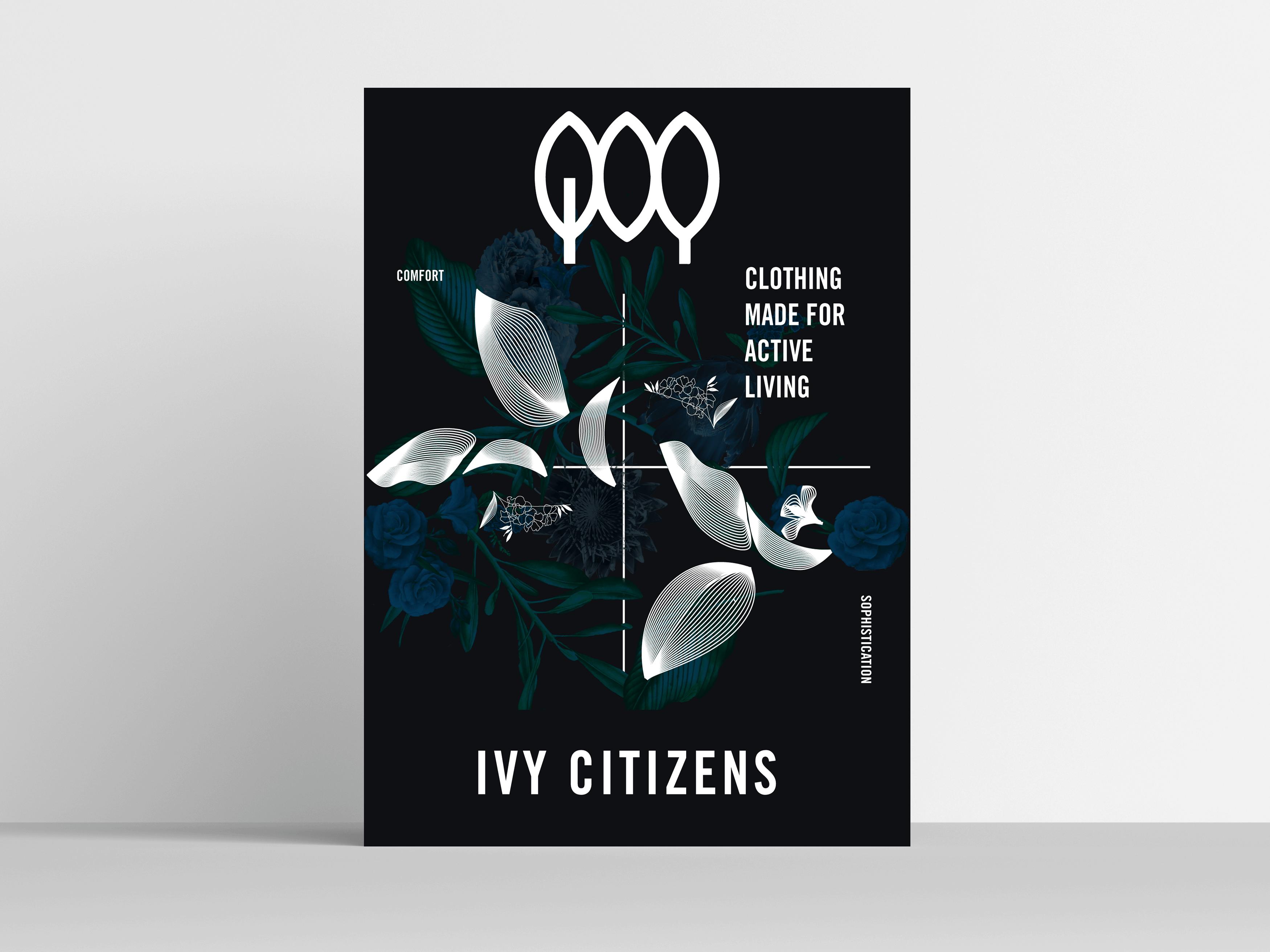 ivy citizens blue poster design framed