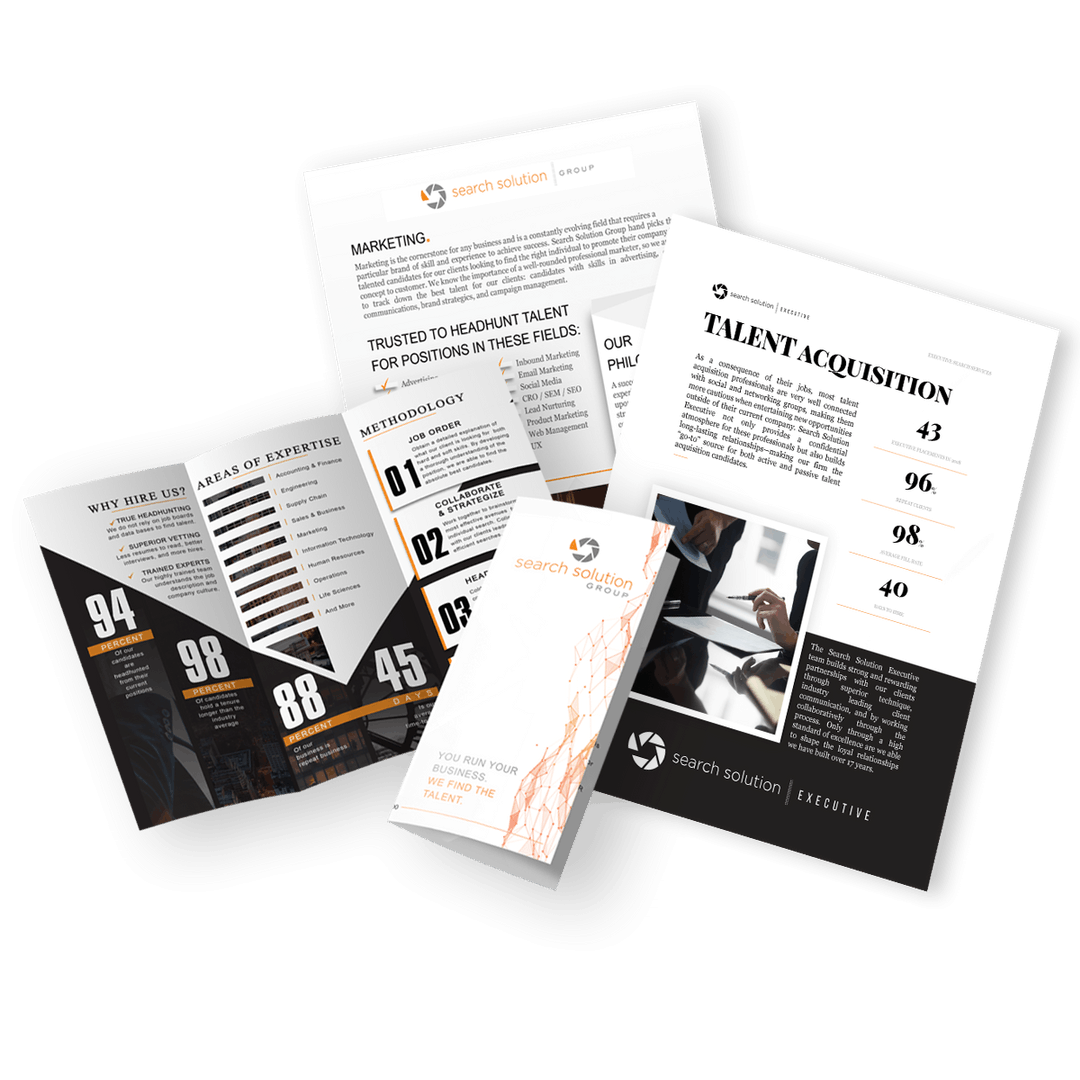 brochure, sales pages, and a sales booklet designed by control advertising