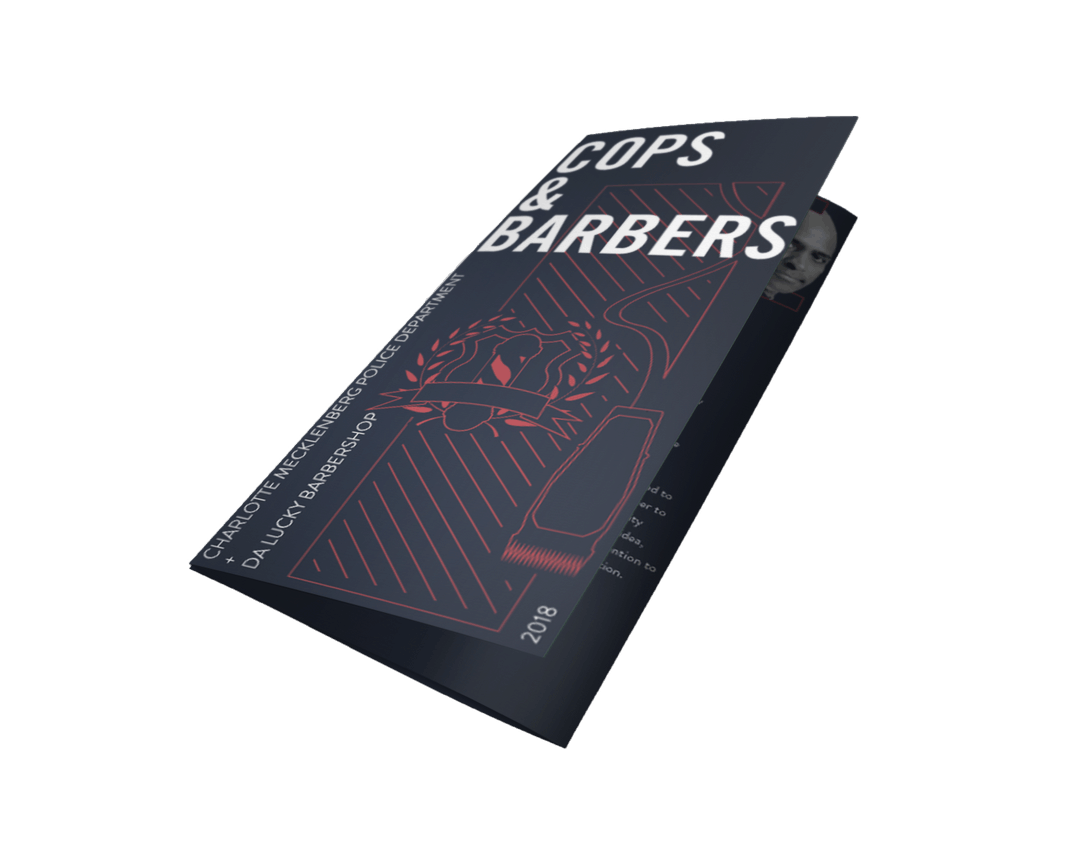 cops and barbers brochure design made by control advertising