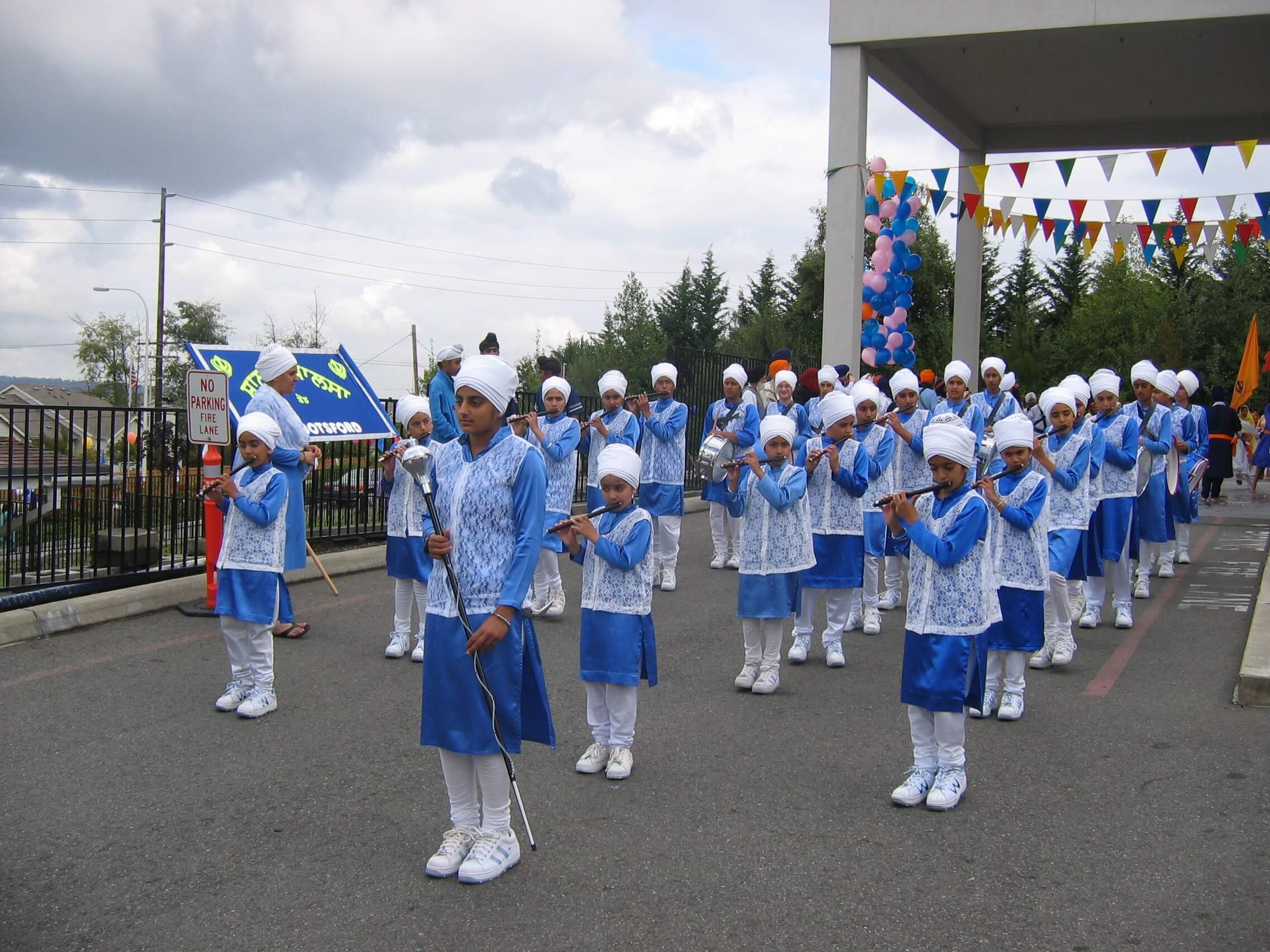 A band team read to perform at a Sikh parade