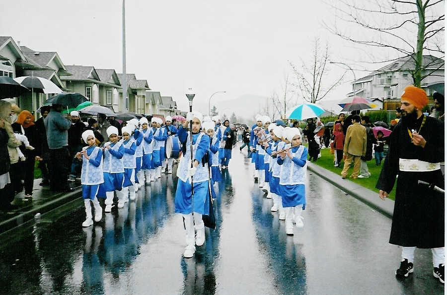 A band team performing at a sikh parade