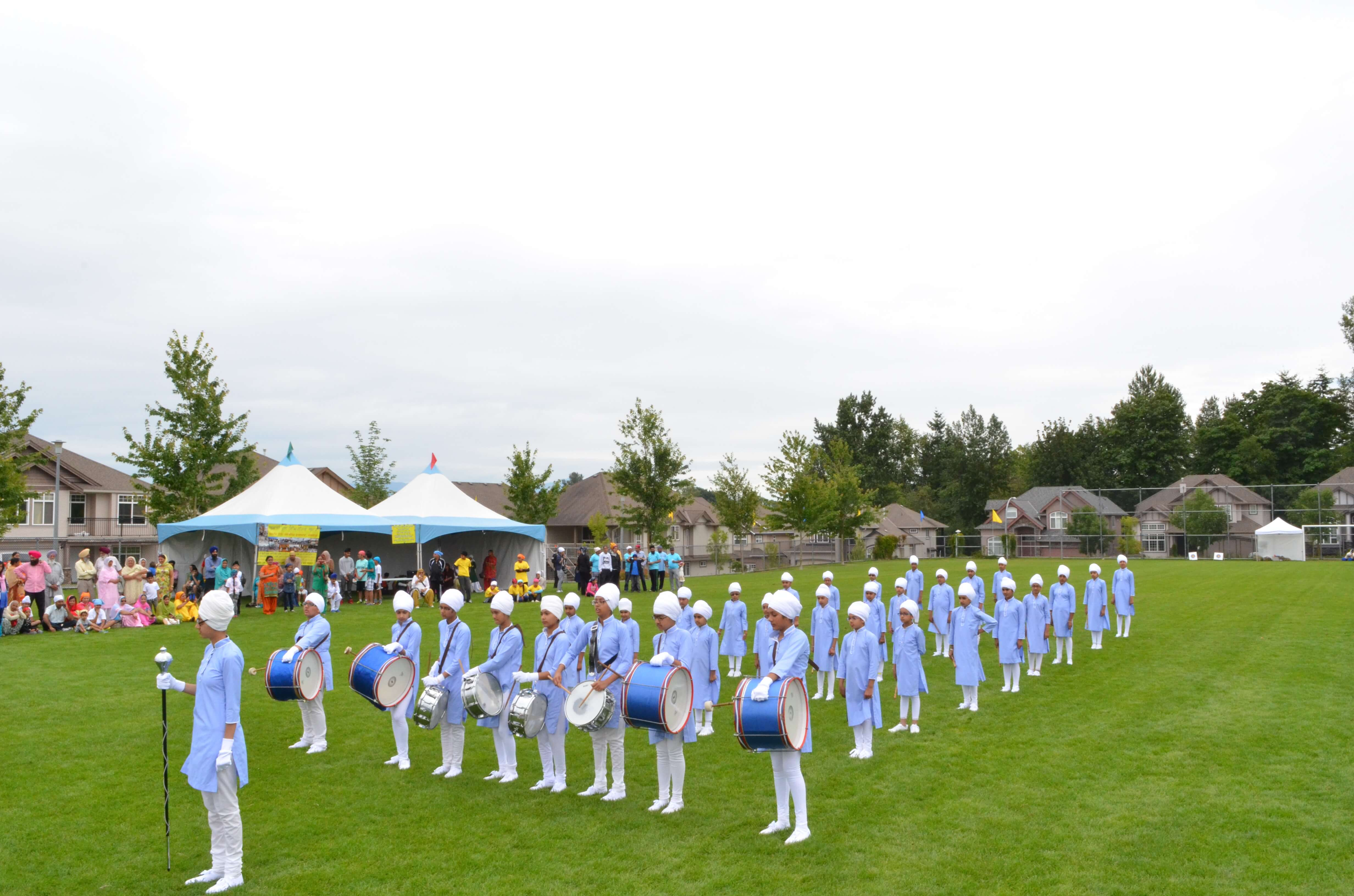 A band team performing on a field