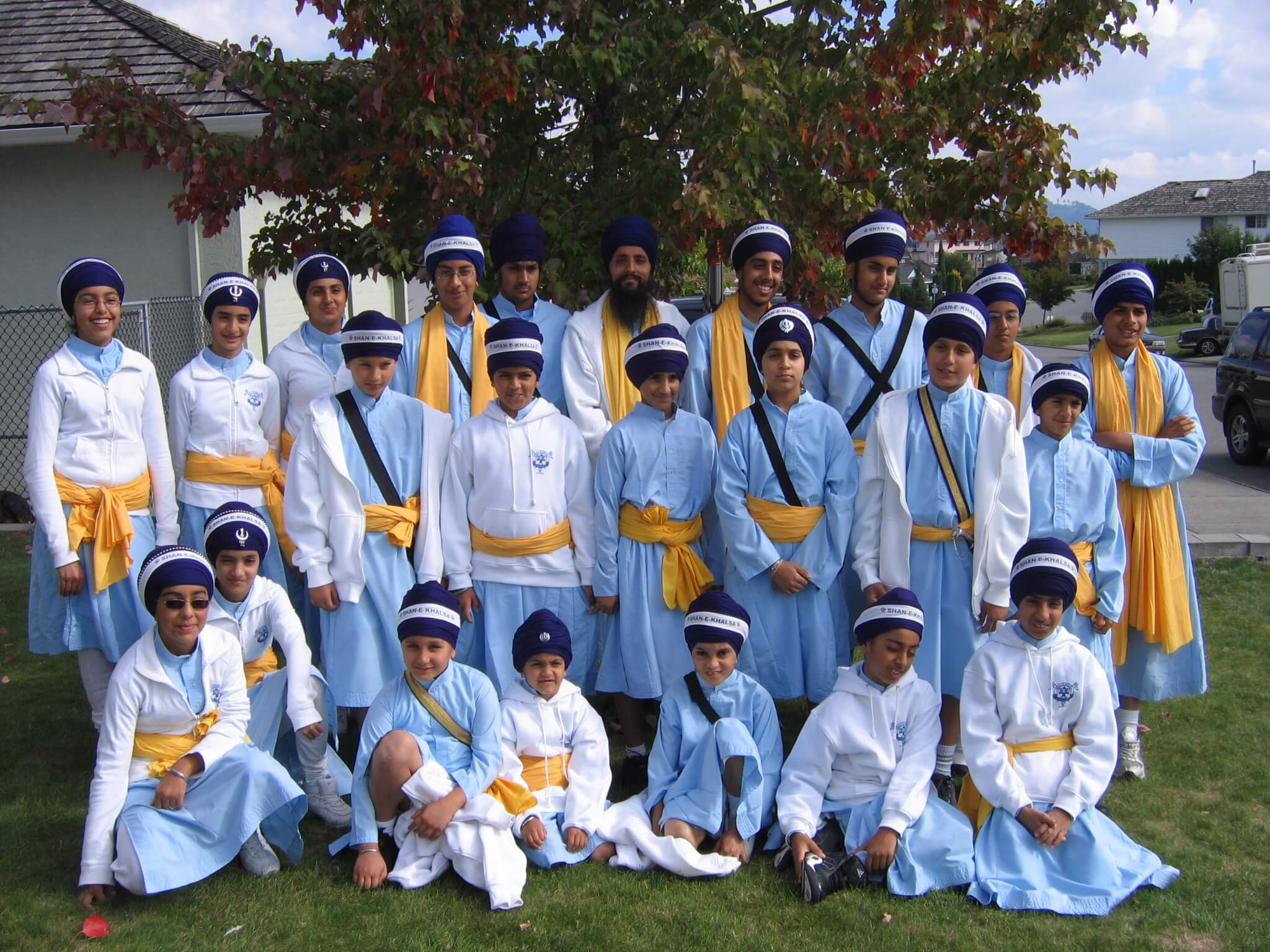 A Gatka (sikh martial arts) team posing for a group picture