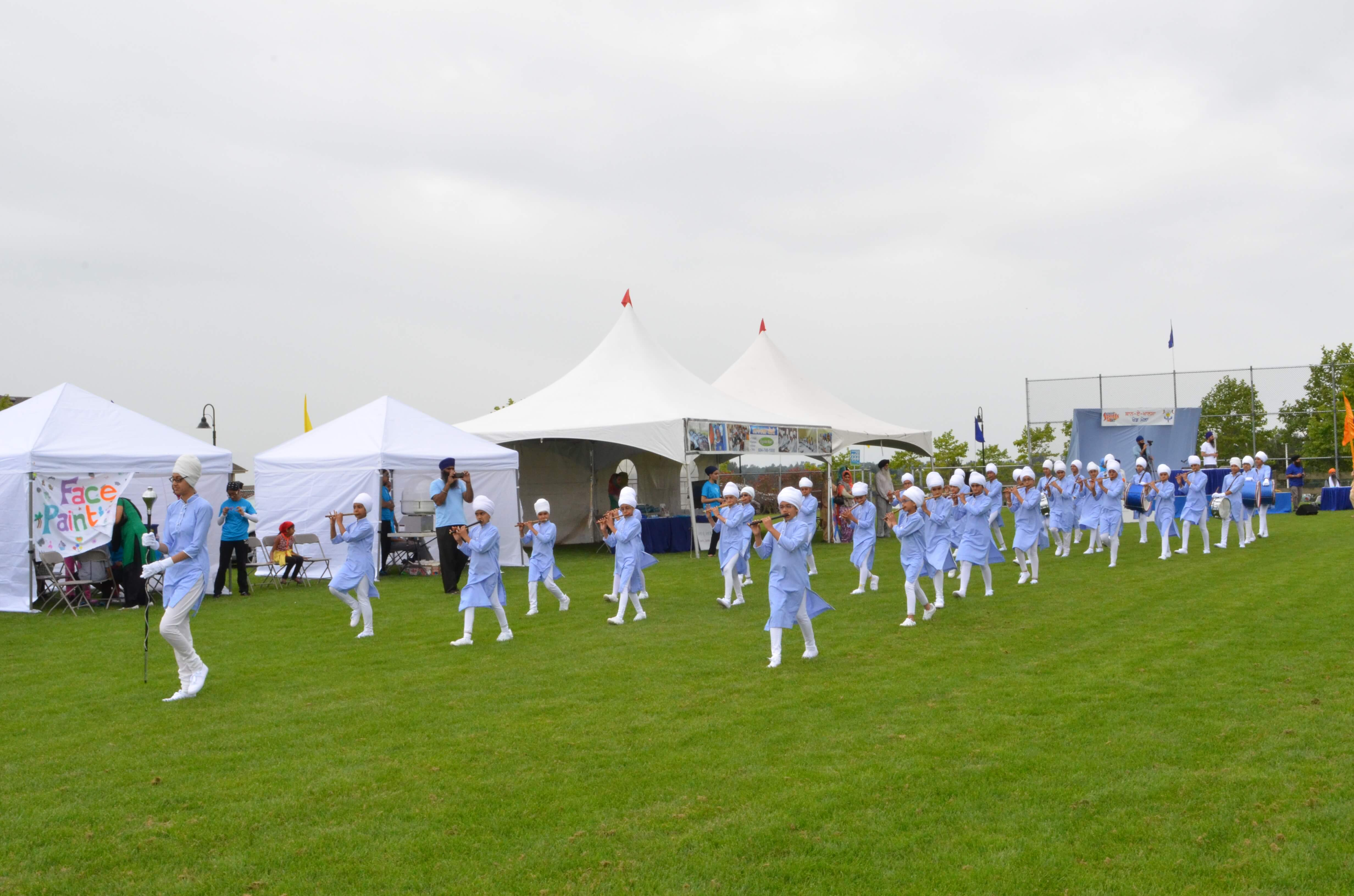 A band team marching on a field