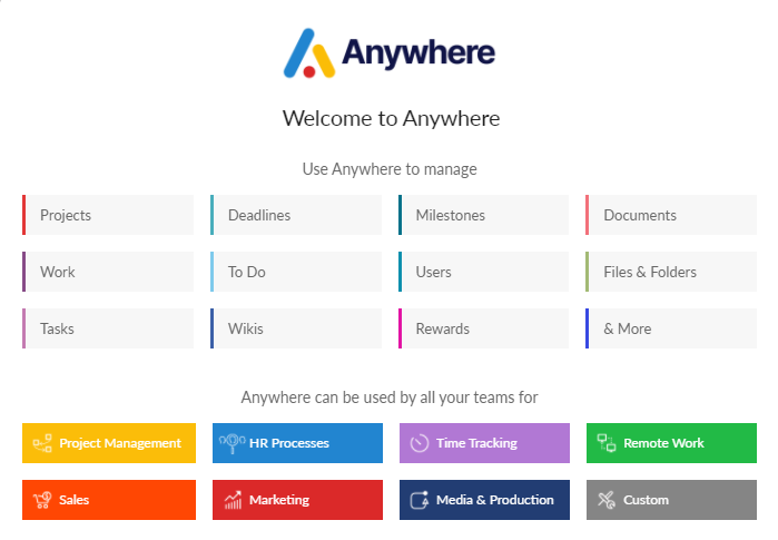 Anywhere is the simplest project management suite for teams of all sizes