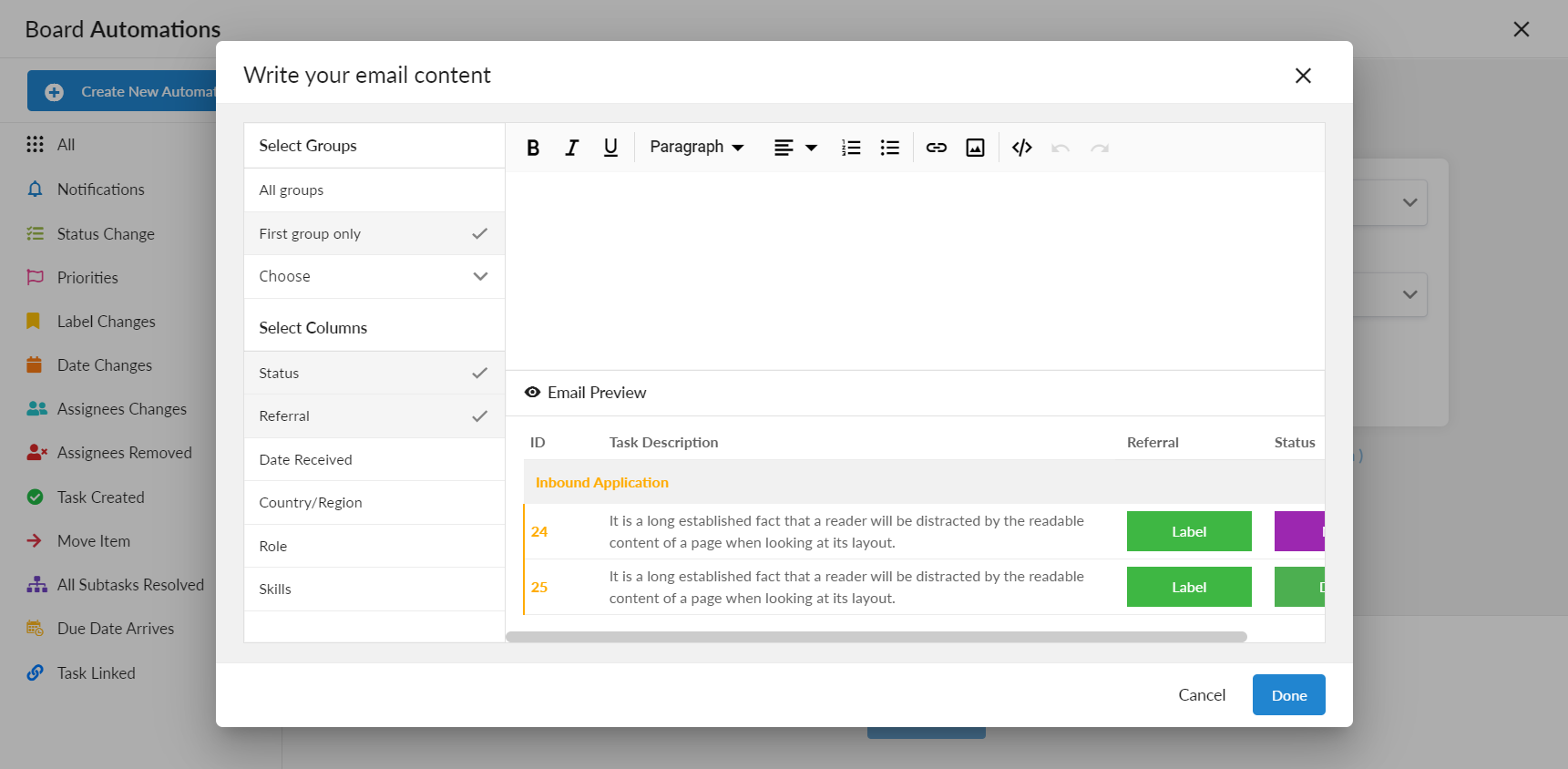 email automation in Anywhere