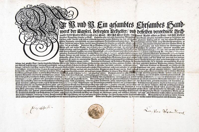 original Urkunde, Lebzelterei Wallner, St.Wolfgang