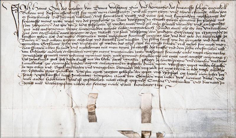 original Urkunde aus 1466, Café Wallner, St.Wolfgang