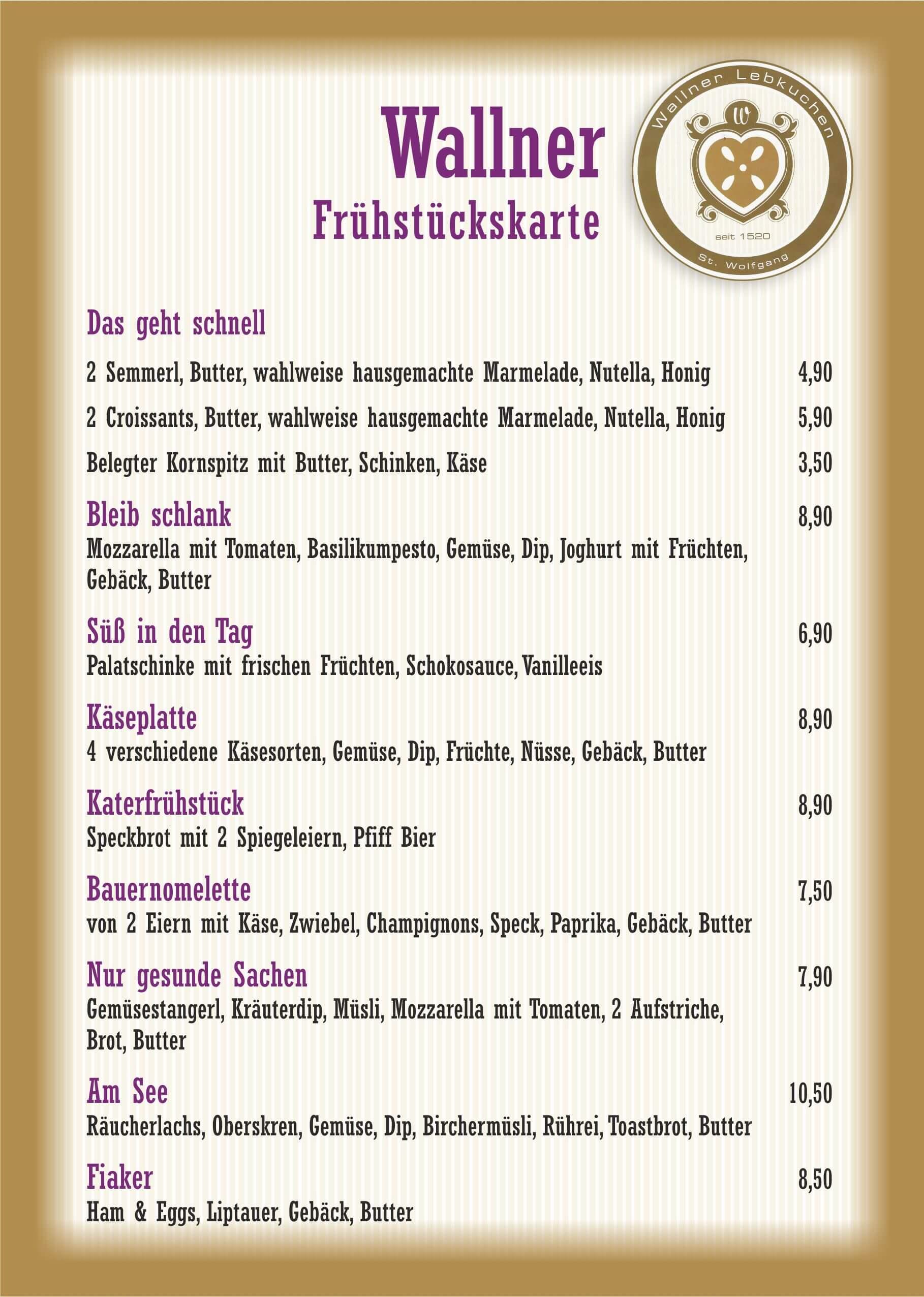 Frühstückskarte, Kaffeehaus Wallner, St.Wolfgang