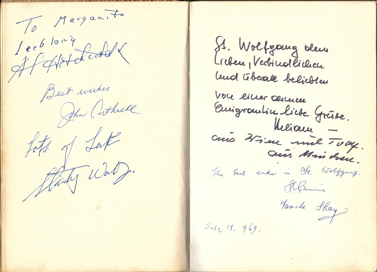 Gästebuch, Alfred Hitchcock, Kaffeehaus St.Wolfgang, Wallner