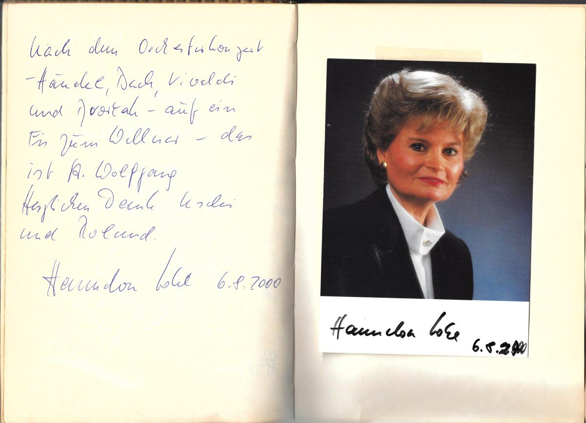 Gästebucheintrag, Hannelore Kohl, Café St. Wolfgang, Wallner