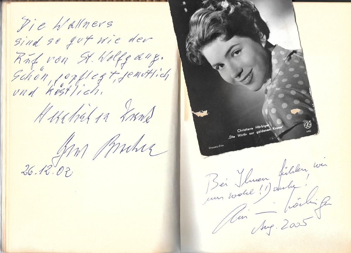 Gästebucheintrag, Christiane Hörbiger, Cafe Wallner, St.Wolfgang