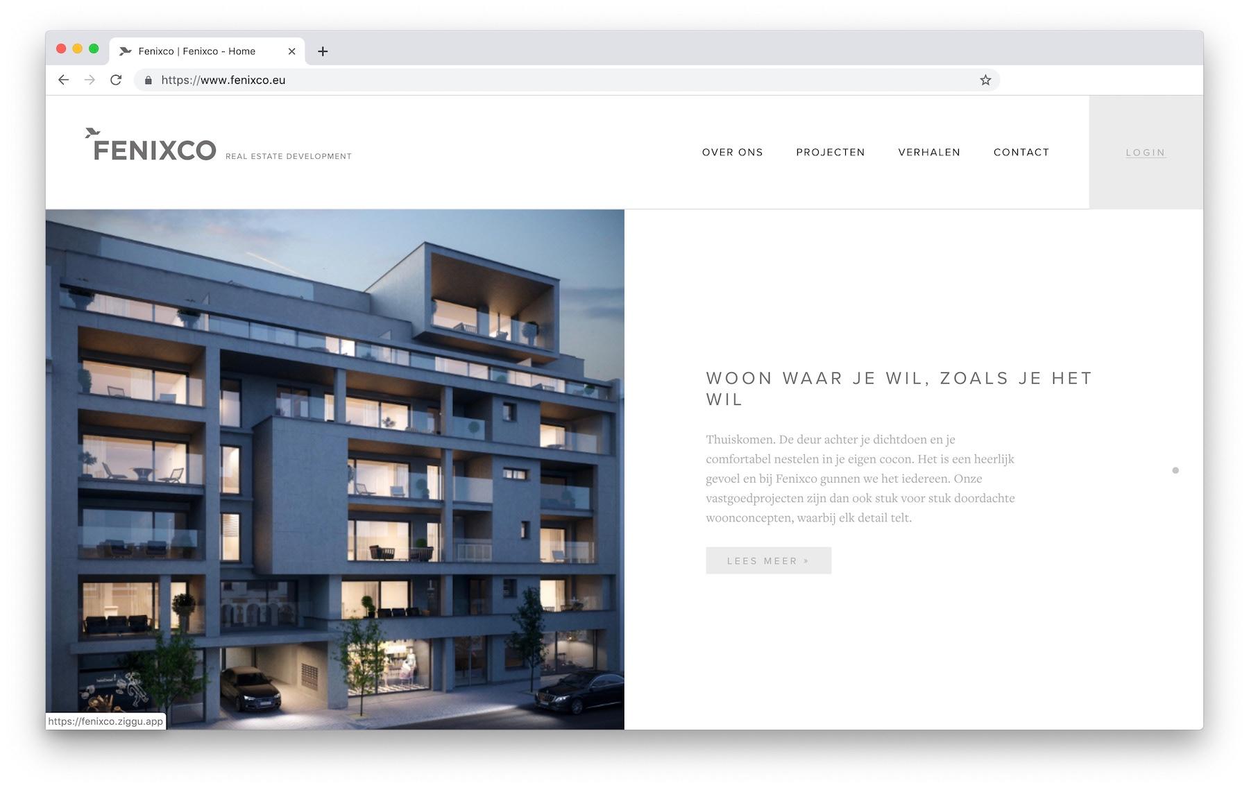 Website Fenixco with Ziggu login